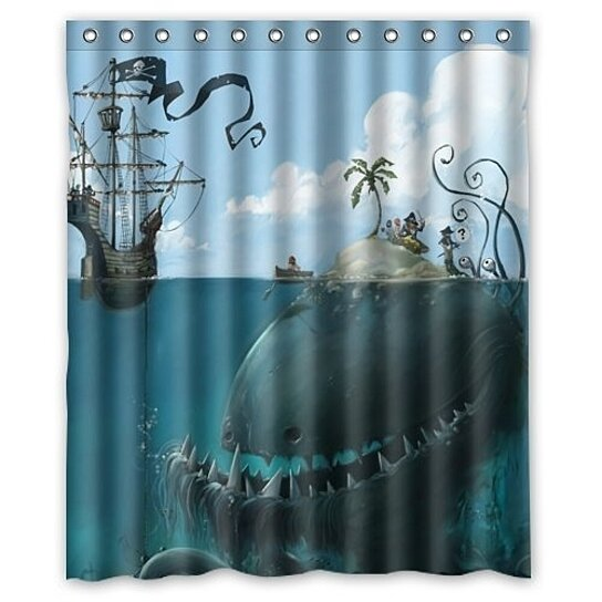funny sea monster isle and pirate ship withdesign shower curtain waterproof polyester fabric shower curtain size 60x72 inches