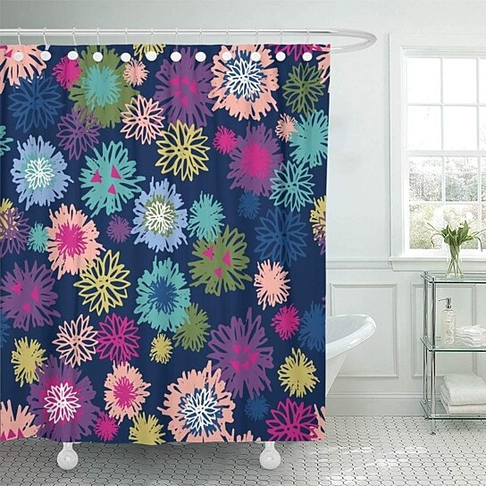 green blue girly dandelion puff floral jewel toned colorful shower curtain 66x72 inch