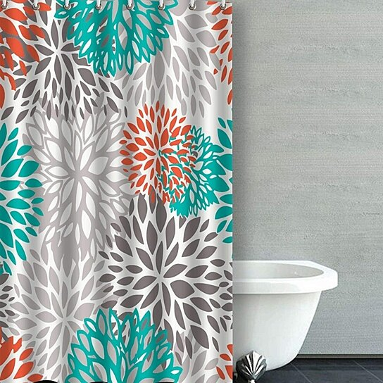orange gray and turquoise dahlia bathroom shower curtain 36x72 inches