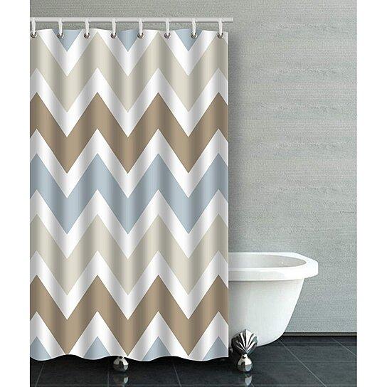 smoky blue gray tan brown chevron pattern bathroom shower curtain 48x72 inches