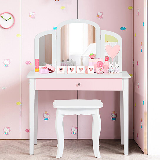 costway kids vanity set princess makeup dressing play table set w mirror white pink