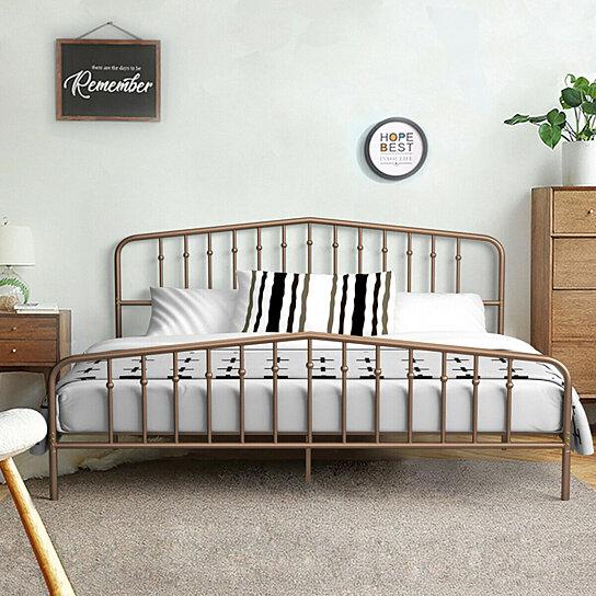 costway king size metal bed frame steel slat platform w headboard antique brown