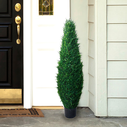 Buy 40 Inch Artificial Cyprus Tree – Large Faux Potted ...