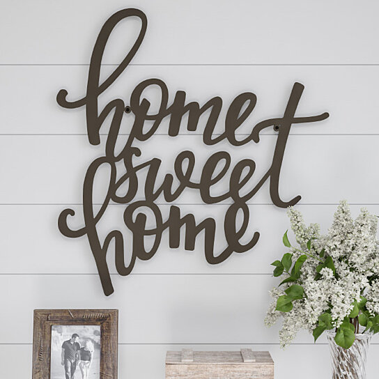 Buy Metal Cutout- Home Sweet Home Decorative Wall Sign-3D ... on Home Wall Decor Signs id=27675