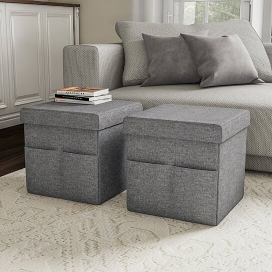set of 2 foot stool storage ottoman seats folding with lids 15 x 15 in with pockets