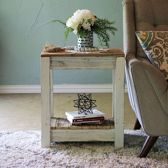 white combo end table for living room bedroom kitchen