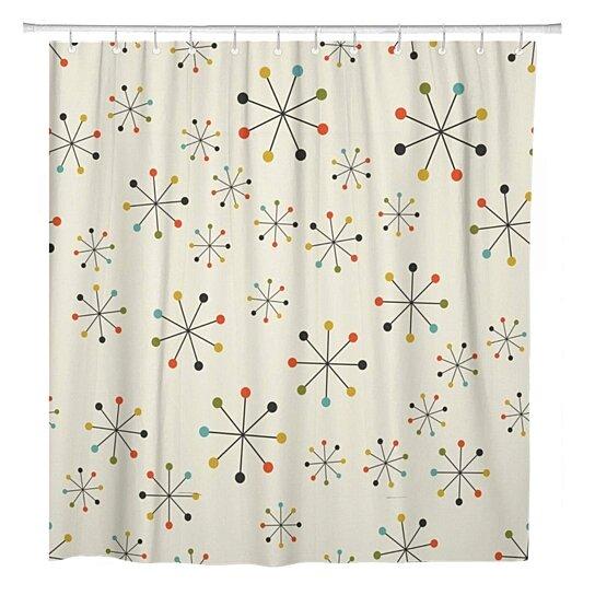 1950s mid century absctract geometric pattern space retro modern bathroom shower curtain 60x72 inch