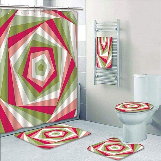 geometric abstract hexagon vortex with vivid colors intertwined shapes coral 5 pcs bath curtain towel rug contour mat toilet lid cover
