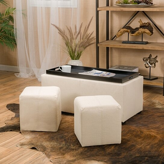 august 3pc nested tray top leather storage ottoman poufs