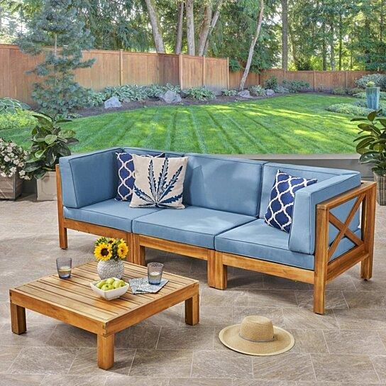 brava outdoor modular acacia wood sofa and coffee table set with cushions