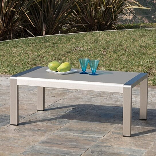 coral bay outdoor aluminum coffee table with glass top