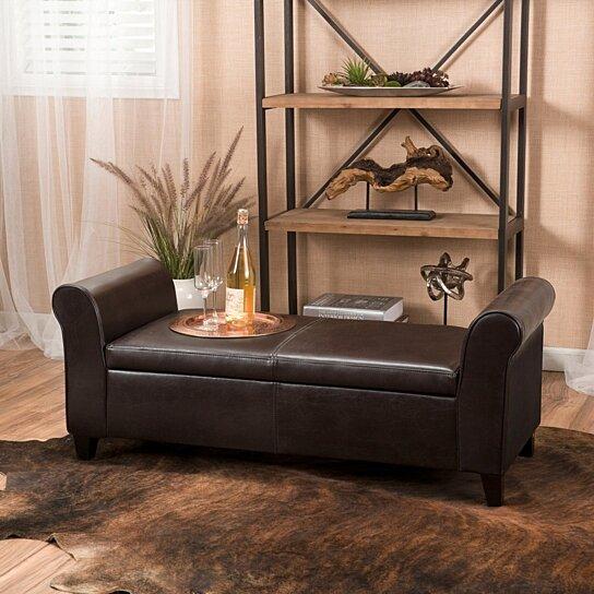 danbury brown leather armed storage ottoman bench