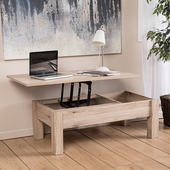 enida natural light brown wood lift top storage coffee table