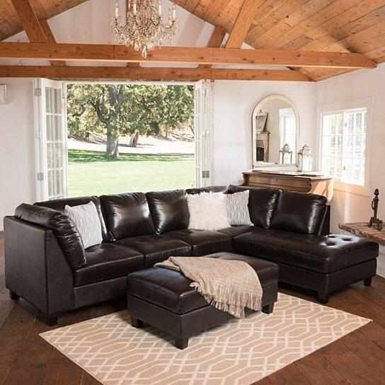 grandview dark brown leather sectional sofa ottoman