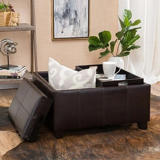 justin 2 tray top brown leather ottoman coffee table w storage