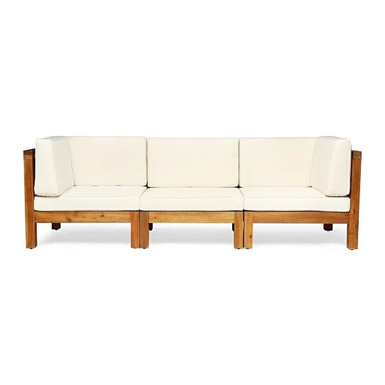 dawson outdoor sectional sofa set 3 seater acacia wood outdoor cushions