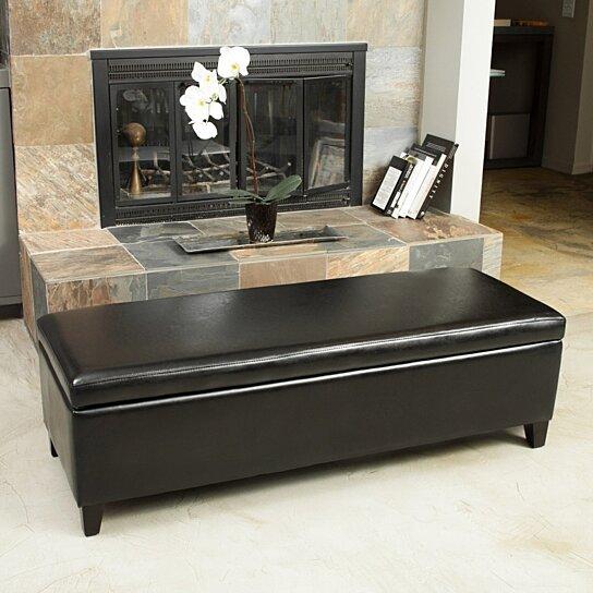 stratford black leather storage ottoman bench