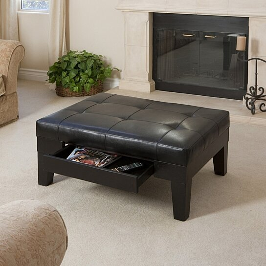 tucson black leather storage ottoman coffee table