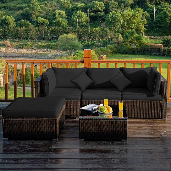 gymax 5pcs rattan patio conversation set outdoor furniture set w ottoman black cushion
