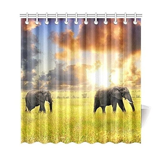 african hippie elephant shower curtain sunset african lanscape shower curtain bathroom sets 66x72 inch