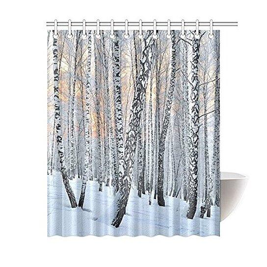 home bathroom birch tree trunks white snow decor shower curtain hooks 60x72 inch winter sunin the birchwood pink sunlight curtains