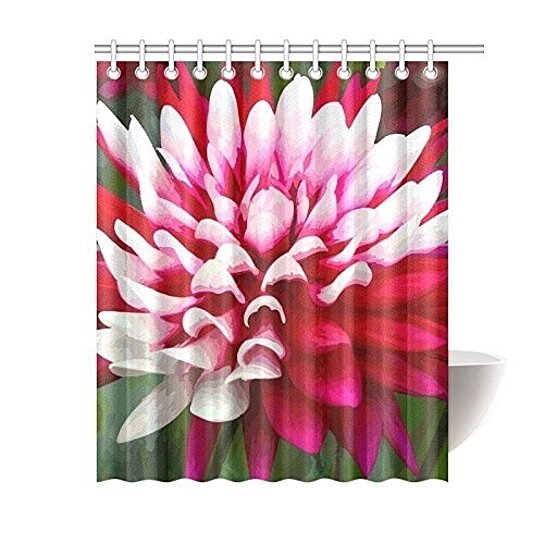 red white dahlia floral bathroom waterproof shower curtain 60x72 inch
