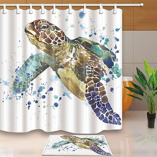 sea animal lover watercolor brick turtle shower curtain shower curtain 66x72 inch doormat bath rugs 15 7x23 6 inch