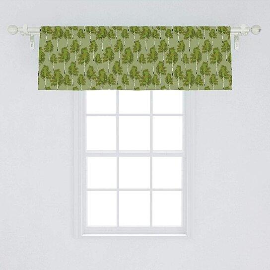woodland wildlife scene trees in a forest window curtain valance rod pocket 54x18 inch