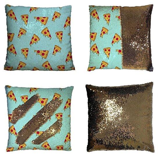 cartoon pizza slice reversible mermaid cushion cover home decor sequin pillow case