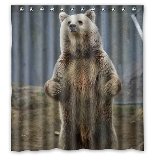 funny grizzly bear animal waterproof shower curtain set with hooks 66x72 inch