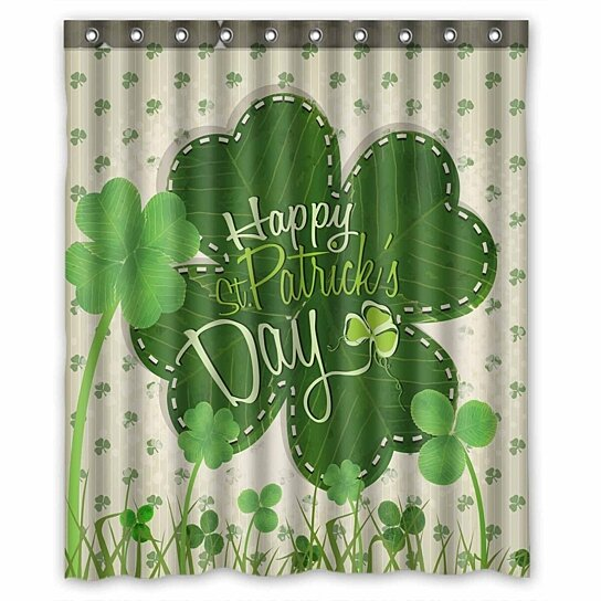 happy st patrick s day waterproof polyester fabric shower curtain