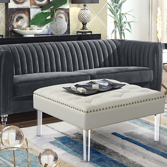 marie square ottoman center table button tufted pu leather upholstered acrylic legs