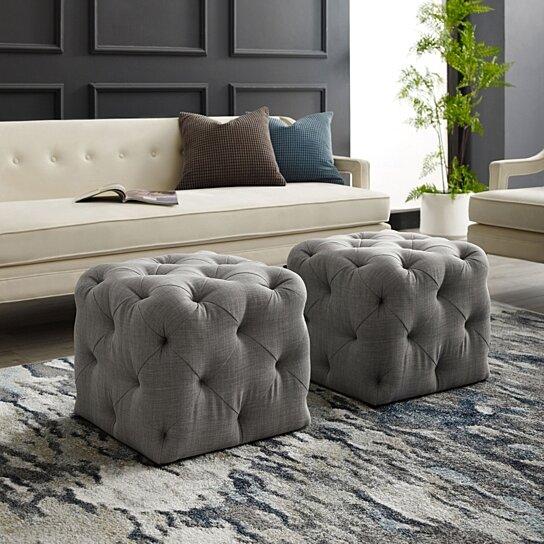 harmony velvet or linen ottoman square shaped allover tufted design modern functional by inspired home
