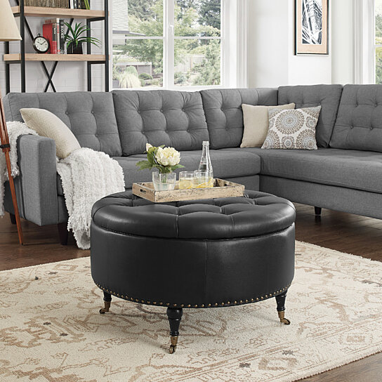 amalia pu leather round storage ottoman with casters gold nailhead trim button tufted modern functional by inspired home