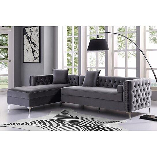 alison velvet chaise sectional sofa 115