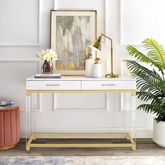 jerome console table high gloss acrylic legs metal base modern design