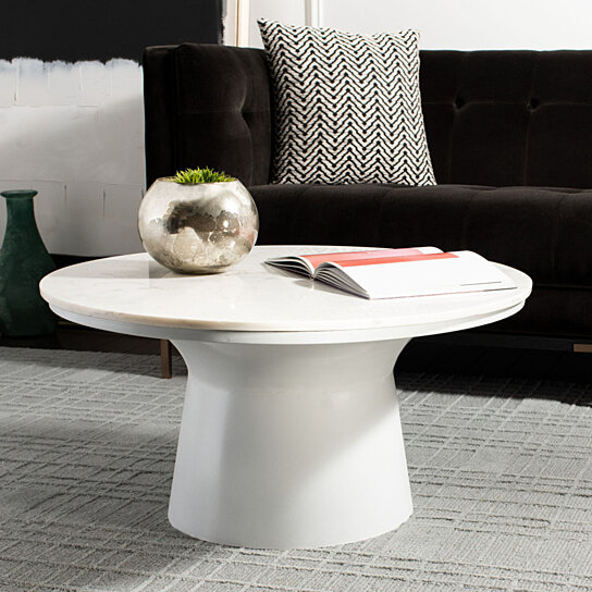 Buy Mila Pedestal Coffee Table White Marble White By Pacific Home On Dot Amp Bo