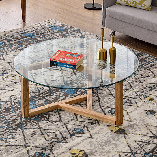 round glass coffee table modern cocktail table easy assembly sofa table for living room with tempered glass top sturdy wood base oak