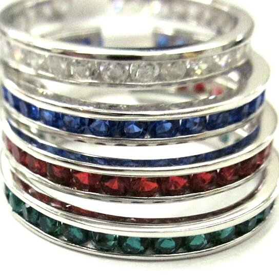 Buy Sterling Silver Stackable 4 Eternity Wedding Ring