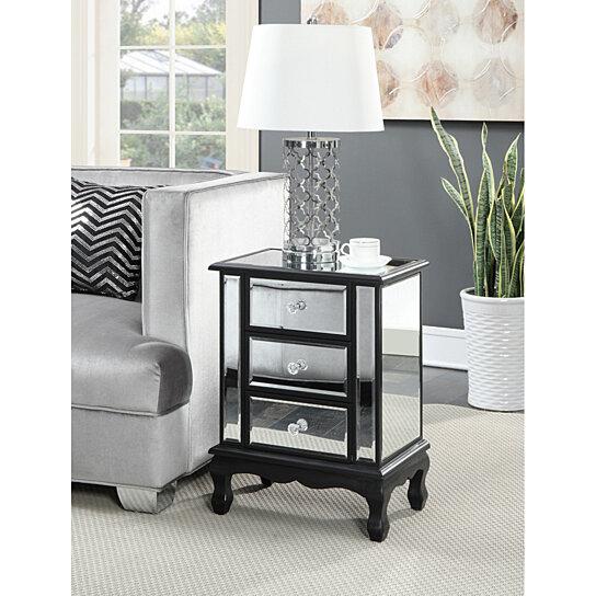 gold coast vineyard 3 drawer mirrored end table black mirror