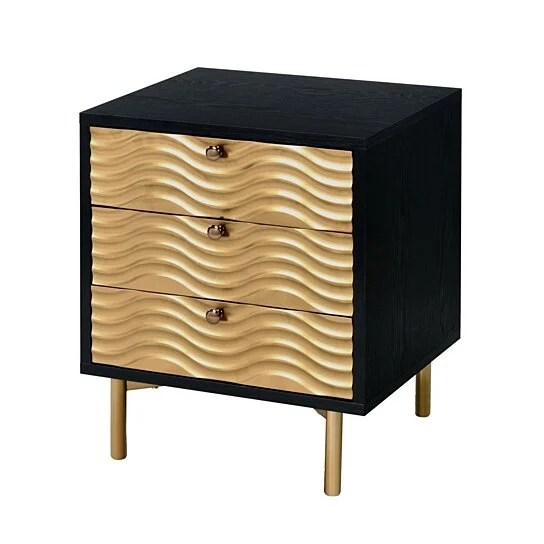 saltoro sherpi 3 drawer nightstand with waved recessed fronts black and gold