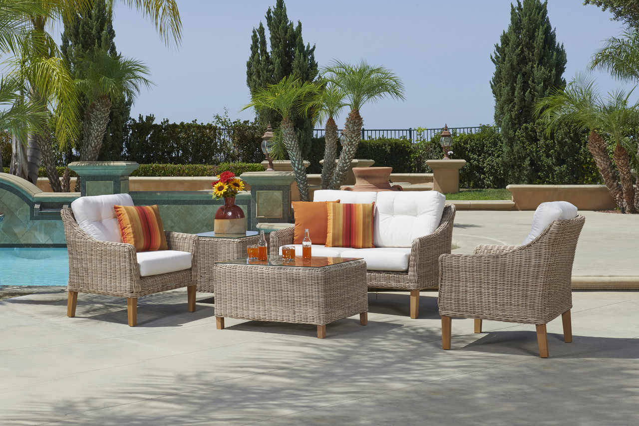 forever patio 4 piece carlisle loveseat set with woven coffee table toss pillows and end table sold separately