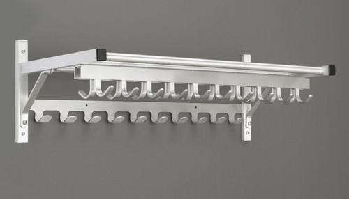 aluminum wall mounted coat hook rack with 2 hook rails and storage shelf 178 902 multiple sizes