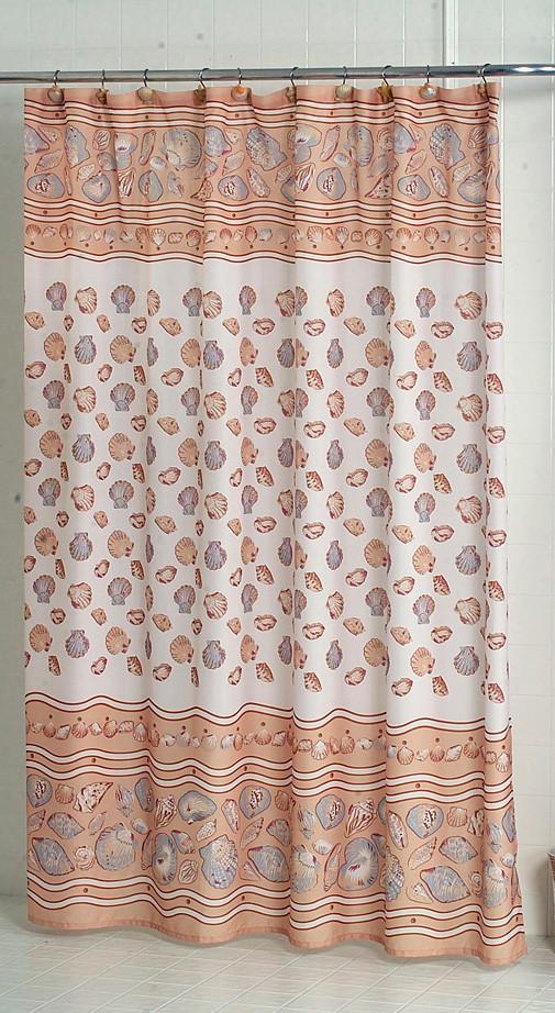 south beach seashells ivory fabric shower curtain