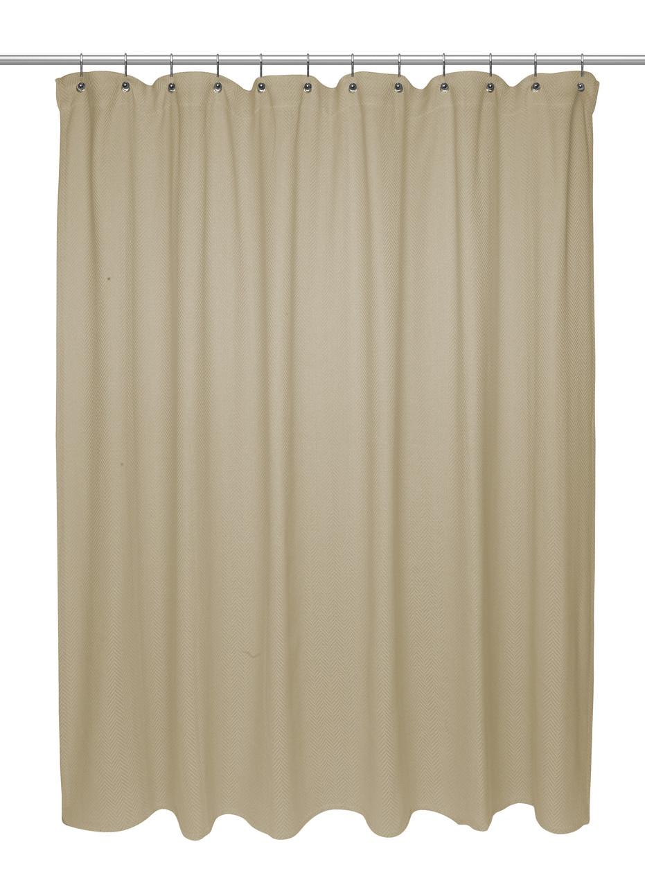 Chevron Weave Cotton Shower Curtain Dark Linen