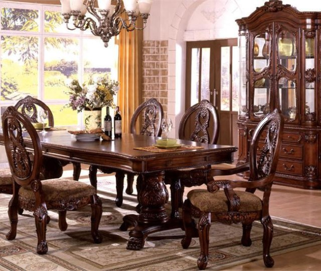 Tuscany Antique Cherry Traditional Pedestal Dining Table Set