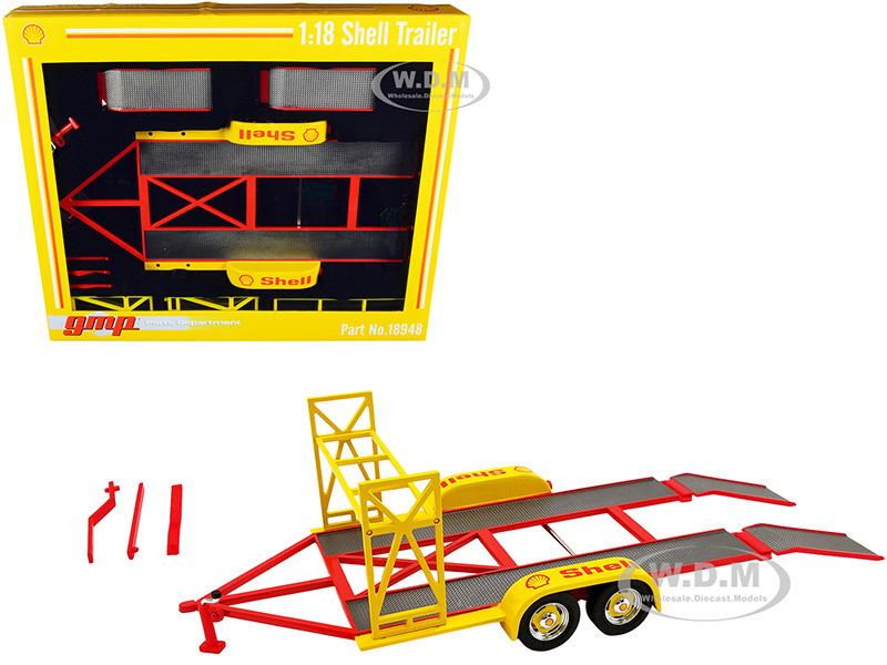 tandem car trailer with tire rack shell oil yellow 1 18 diecast model by gmp
