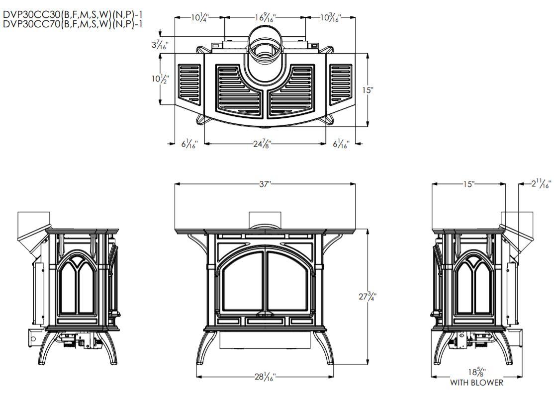 Empire Direct Vent Cast Iron Stove With Slope Glaze Burner Medium