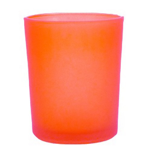 Deep Orange Frosted Glass Table Tea Light Candle Holder