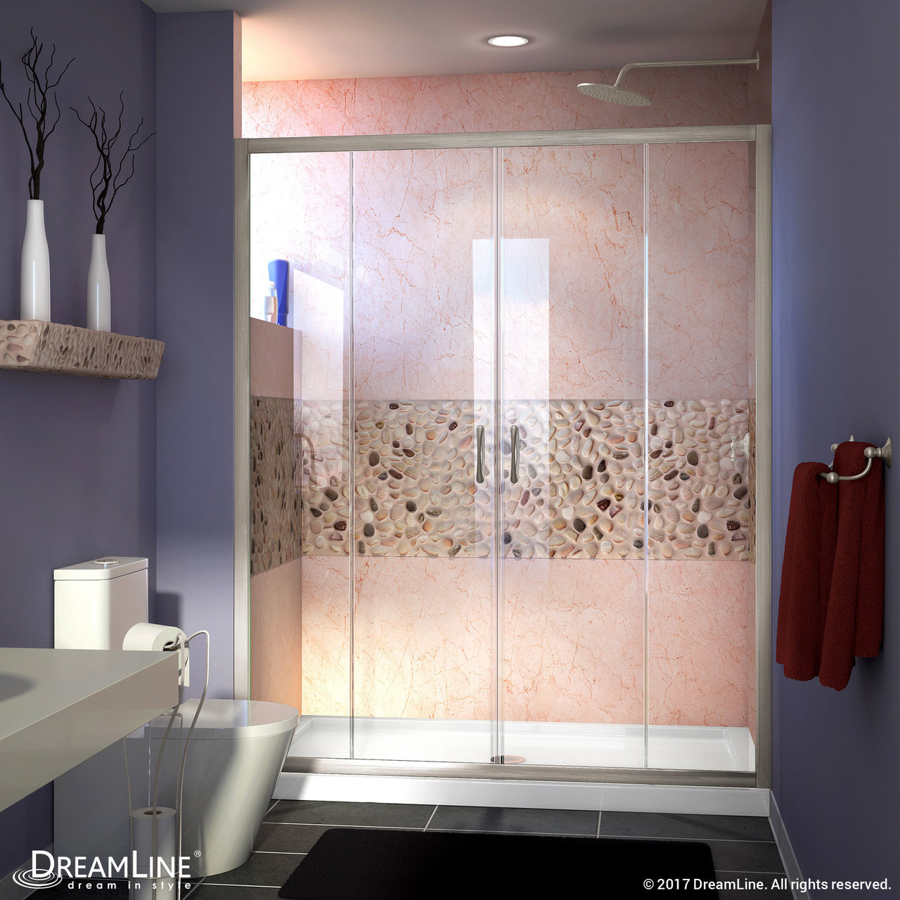 Dreamline Shdr 1160726 04 Visions 56 60 In W X 72 In H Semi Frameless Sliding Shower Door In Brushed Nickel